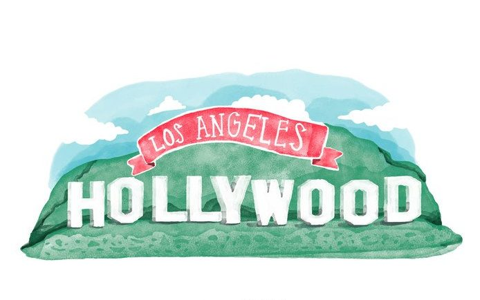 free-hollywood-sign-watercolor-vector